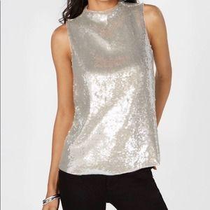 INC Silver Sequin Sleeveless Top Size XL, NWT